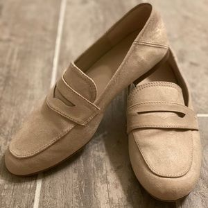 Tan faux suede loafers